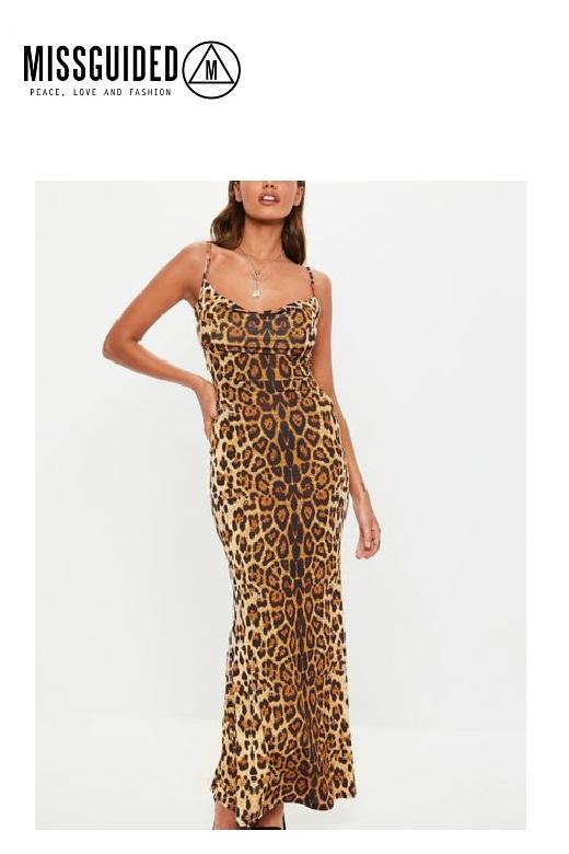 Missguided női ruha Tall Slinky leopard cowl neck maxi dress