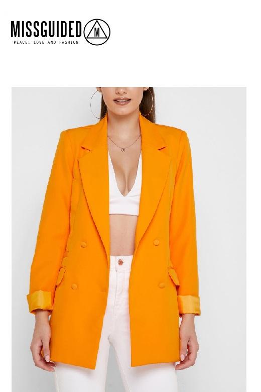 Missguided női blézer narancssárga Tall button double Blazer