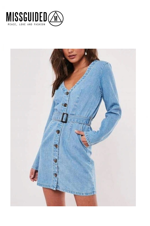 Missguided női farmer ingruha mini LS Belted Plunge Denim