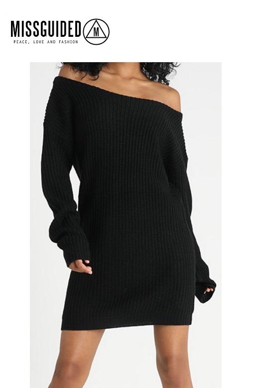 Missguided női pulóver ruha kötött Ayvan Off shoulder jumper