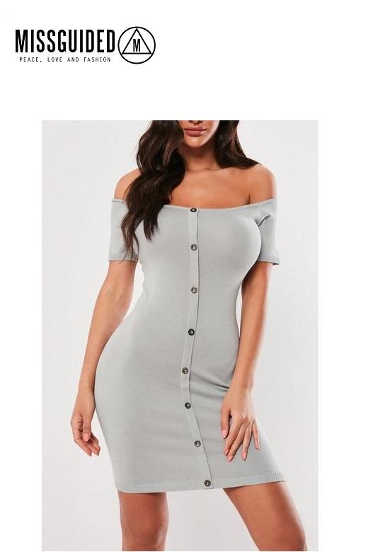 Missguided női overál gombos mini ruha Button knitted mini dress
