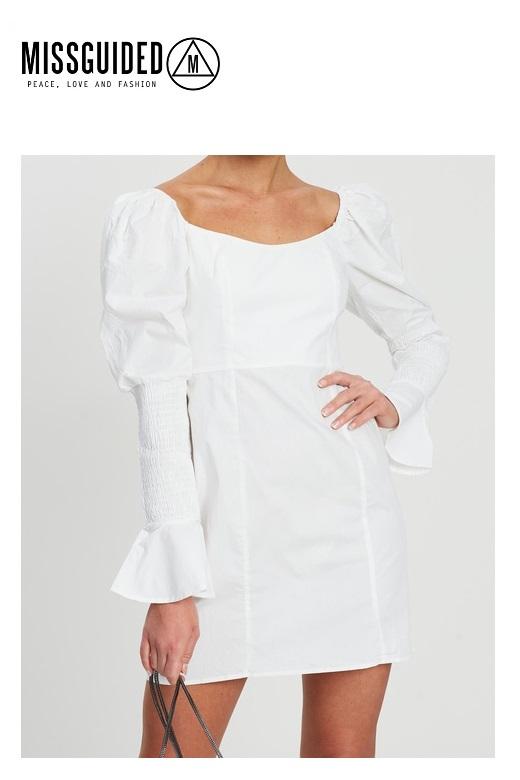 Missguided női ruha Poplin Shirring Sleeve Aline