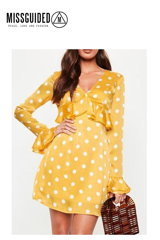 Missguided női pöttyös sárga ruha Yellow Polka pluge mini dress