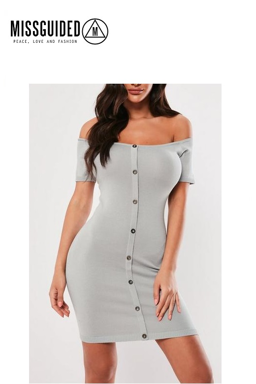 Missguided női overál gombos mini ruha Button knitted mini dress