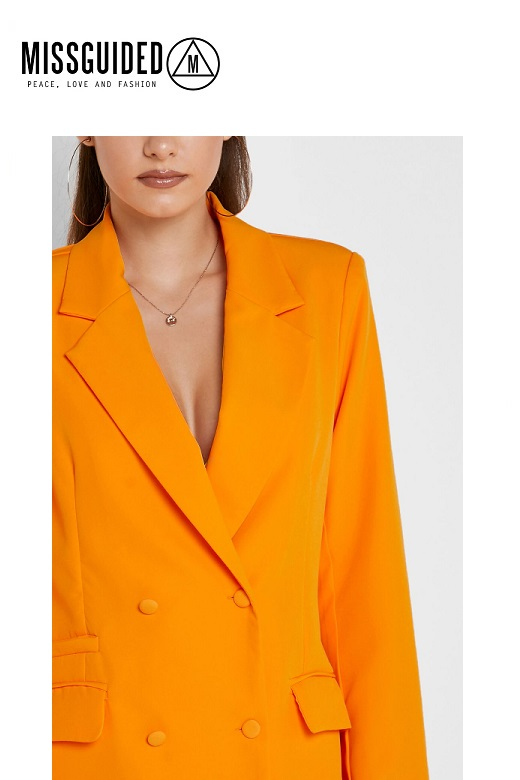 Missguided női blézer narancssárga Tall button double Blazer