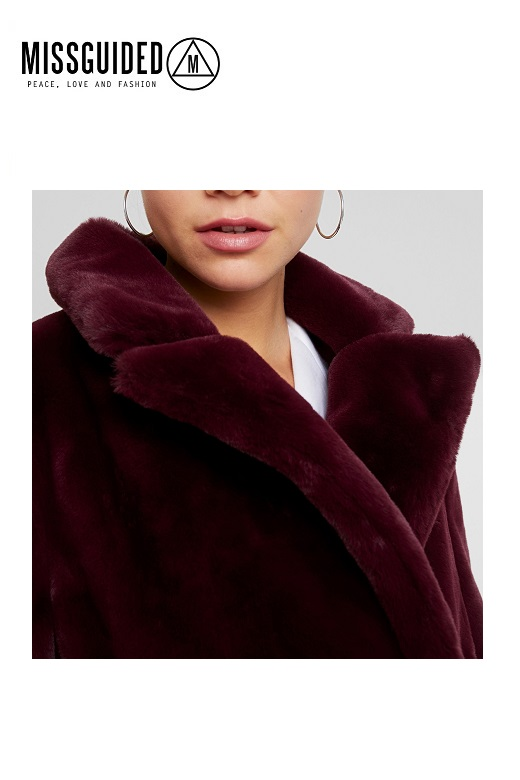 Missguided női kabát Double breasted belted waist fur coat Burgundy